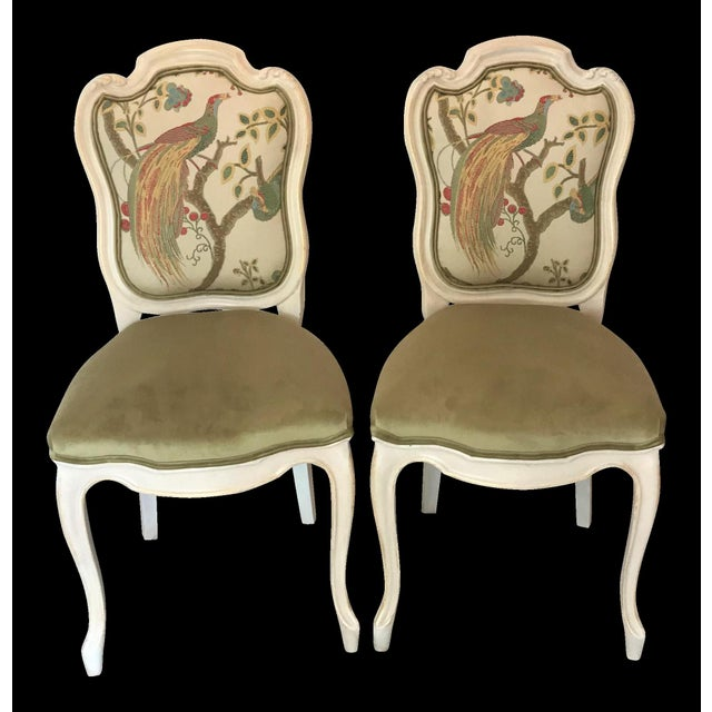 19th Century Louis XV Château d'Amboise Parcel Gilt Velvet & Tapestry Chairs - a Pair For Sale - Image 9 of 9