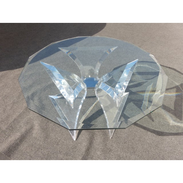 Lion in Frost Triple Butterfly Lucite Coffee Table For Sale - Image 5 of 11