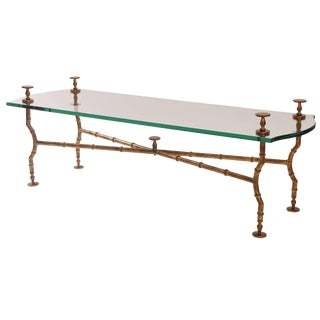 1950s Mid-Century Modern Gold Leafed Steel and Glass Sculptural Cocktail Table For Sale