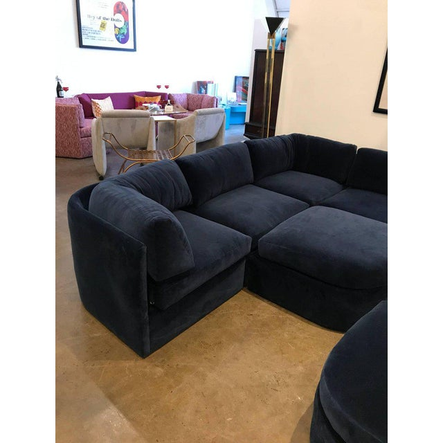 Mid Century Modern / Contemporary 10 pc Thayer Coggin Sectional in Cotton Velvet - Image 7 of 9