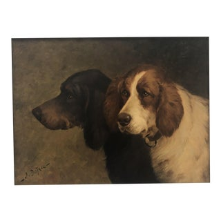 19th Century Signed Oil Painting of Hunting Spanels