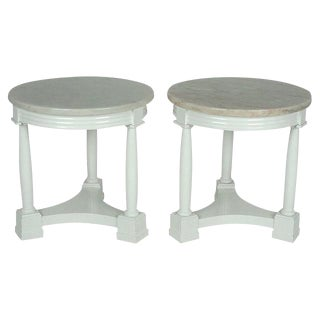 Pair of Hollywood Regency Side Tables in White Lacquer With Marble: 1940's For Sale
