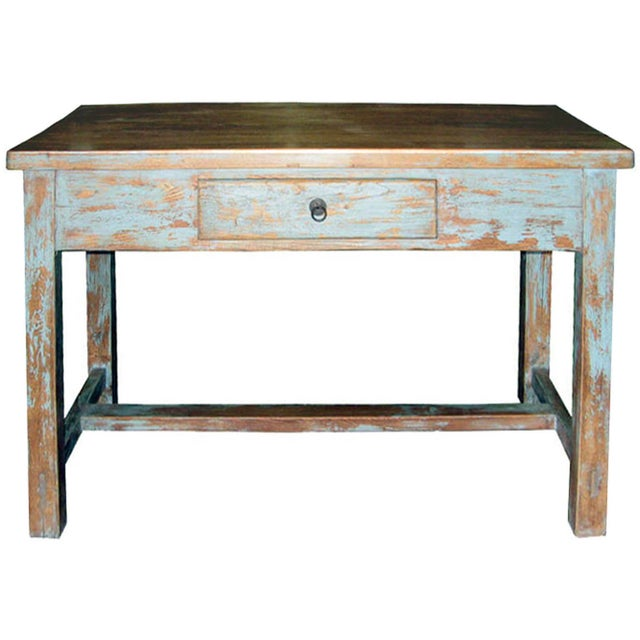 Distressed Blue Table - Image 1 of 7