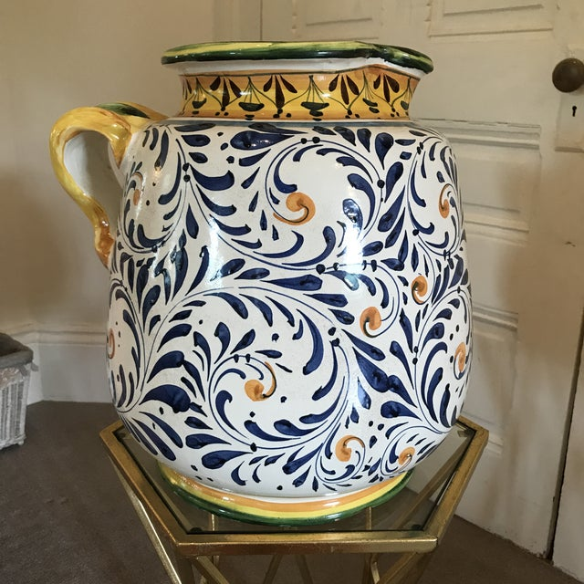 Italian Blue and Yellow Hand-Painted Italian Ceramic Vessel For Sale - Image 3 of 8