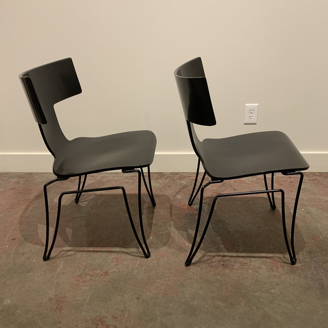 Donghia 1960s Vintage Black Anziano Chairs by John Hutton for Donghia - a Pair For Sale - Image 4 of 9