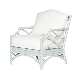 David Francis Classic Rattan Chinoiserie Lounge Chair For Sale