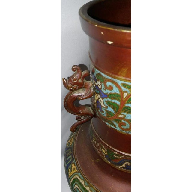 Champleve Enamel Vase With Dolphin Handles For Sale - Image 6 of 6