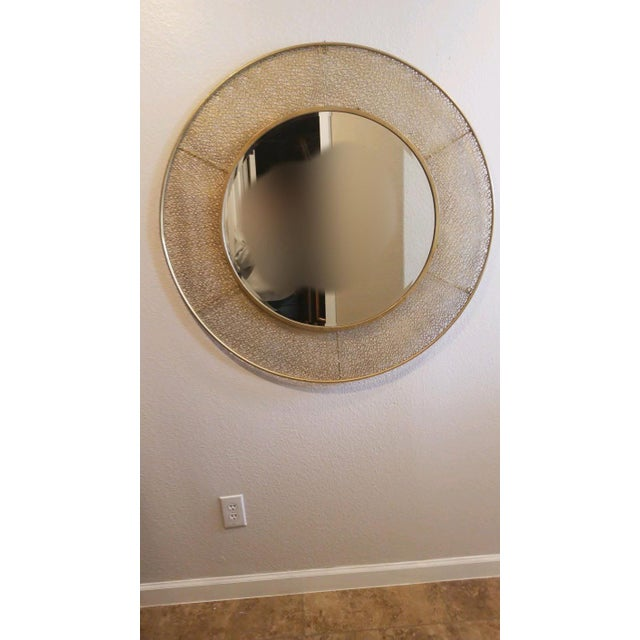 Metal 1950s Vintage Brass Wall Mirror For Sale - Image 7 of 7