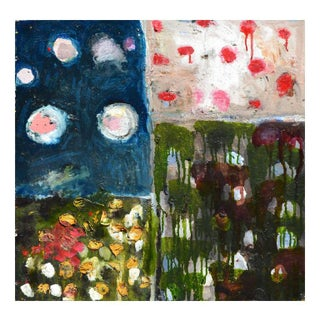 Abstract Quadrants With Flower Petals By Kristin Cohen For Sale