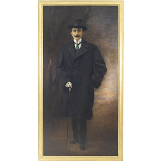 English Victorian Style Gentleman Portrait Painting by Lucia Tarditi, 1913 For Sale