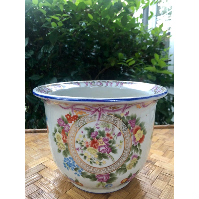 Floral and Swag Gilt Porcelain Cachepot Planter For Sale - Image 10 of 12