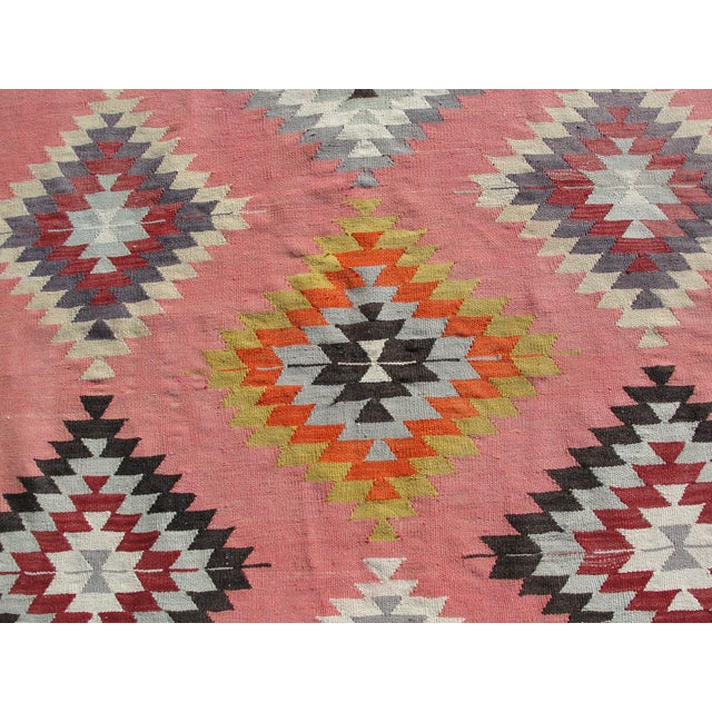 Vintage Turkish Kilim Rug - 6′5″ × 8′9″ For Sale - Image 4 of 11