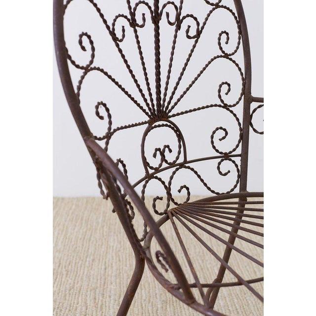 Salterini Style Iron Fan Back Garden Patio Chairs For Sale - Image 9 of 13