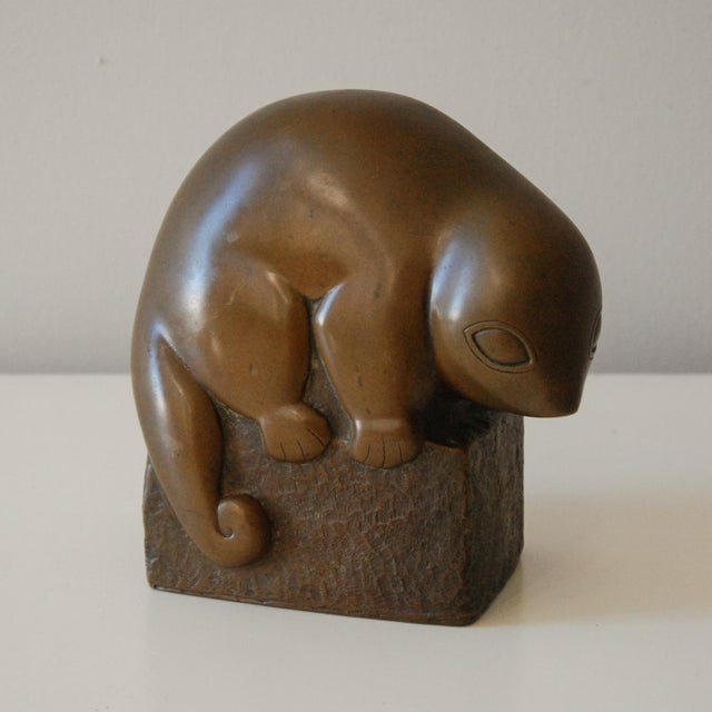 Metal Circa 1940 Marian Weisberg Copper Stylized Lemur Sculpture For Sale - Image 7 of 8