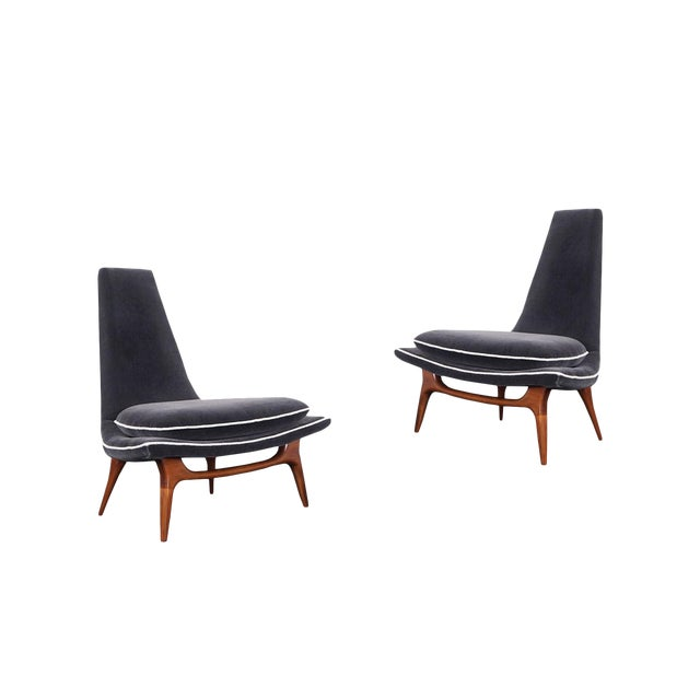 Vintage High Back Lounge Chairs by Karpen For Sale