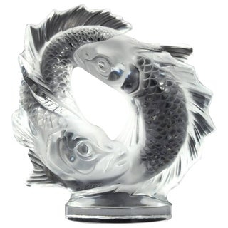 "Lalique Clear Crystal Double Fish ""Deux Poissons"" Sculpture For Sale"
