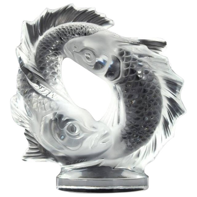 """Lalique Clear Crystal Double Fish """"Deux Poissons"""" Sculpture For Sale"""