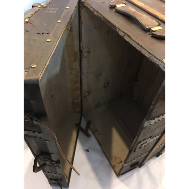 Antique Leather & Wood French Dome Trunk For Sale - Image 11 of 11