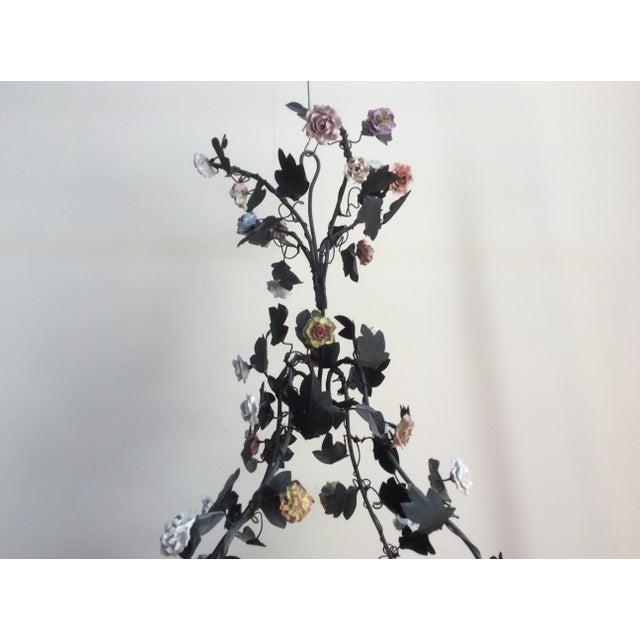 Tole & Porcelain Flower Candle Chandelier - Image 6 of 10