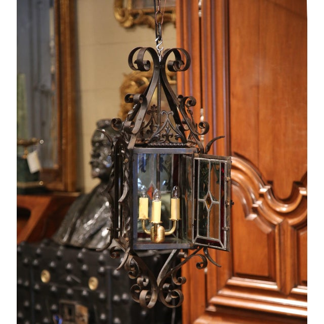 Gothic 19th Century French Napoleon III Black Iron Lantern With Stained Glass Panels For Sale - Image 3 of 9