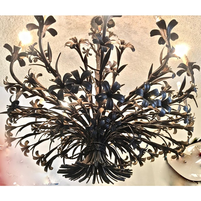 Brown 1960s Hollywood Regency Floral Metal Brutalist Chandelier For Sale - Image 8 of 10