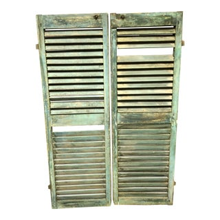 Vintage Cottage Chic Shabby Green Wood Shutters - a Pair