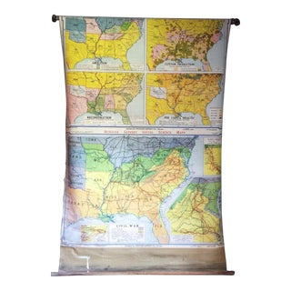 Vintage Civil War Pulldown School Map For Sale