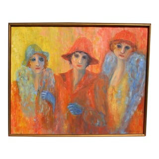 "Vintage ""Ladies in Hats"" Framed Oil Painting on Canvas For Sale"