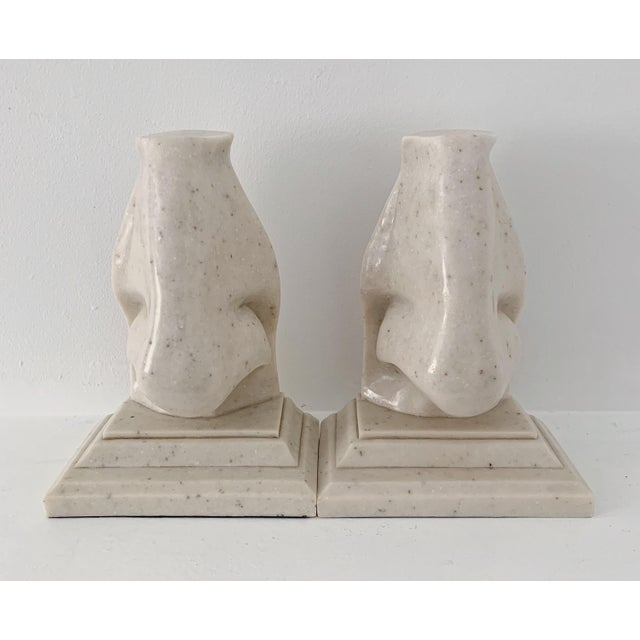 Contemporary Vintage Oversized Nose Faux Marble Bookends - a Pair For Sale - Image 3 of 5