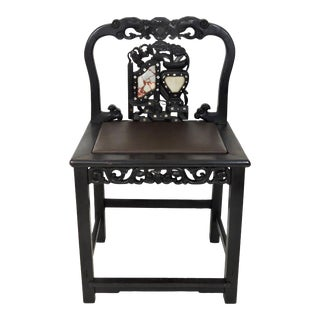 Antique 19th Century Chinese Blackwood, Marble & Mother of Pearl Upholstered Formal Side Chair For Sale