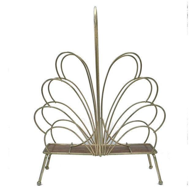 Hollywood Regency Style Brass Magazine Rack For Sale - Image 4 of 5