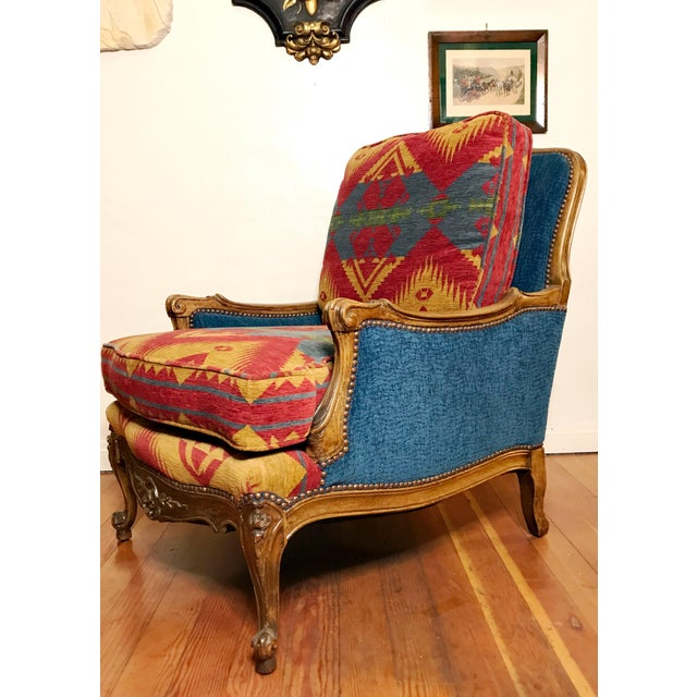 Brass 19th Century French Upholstered and Carved Armchair For Sale - Image 7 of 13