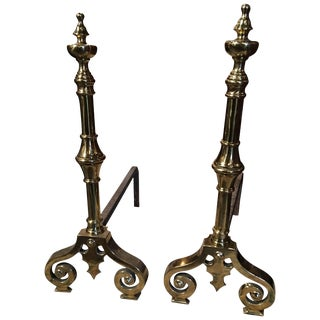 Pair of Polished Brass Chenets or Andirons With Decorative Scrolls, 19th Century For Sale