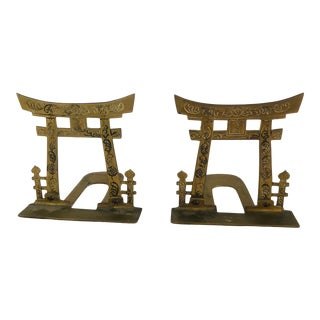 Vintage Brass Chinoiserie Bookends- A Pair For Sale