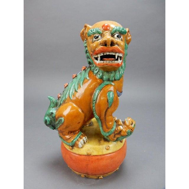 Late 19th Century Antique Chinese Nan King Orange Drip Glazed Female Foo Dog For Sale - Image 13 of 13