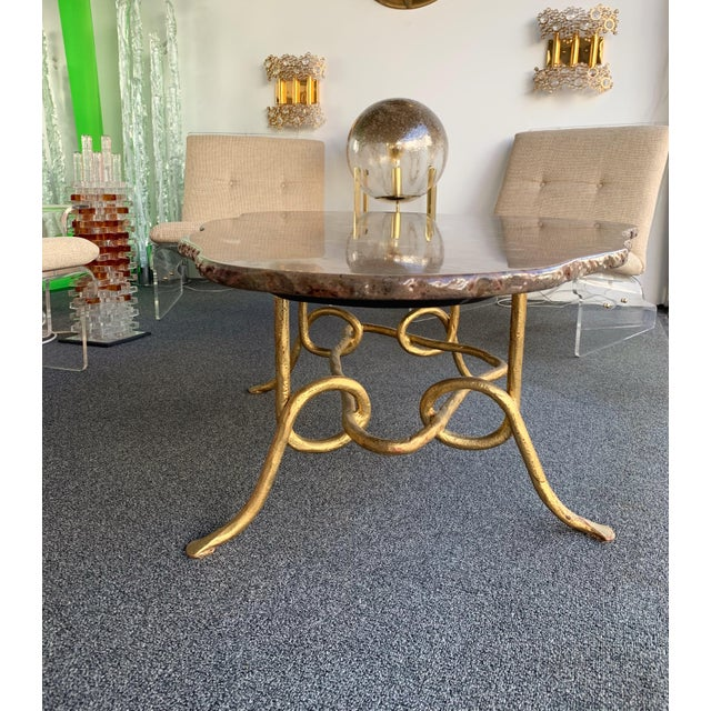 Coffee Table Gilt Iron Fossil Stone Top by Pinguaud, France, 1980s For Sale - Image 6 of 13