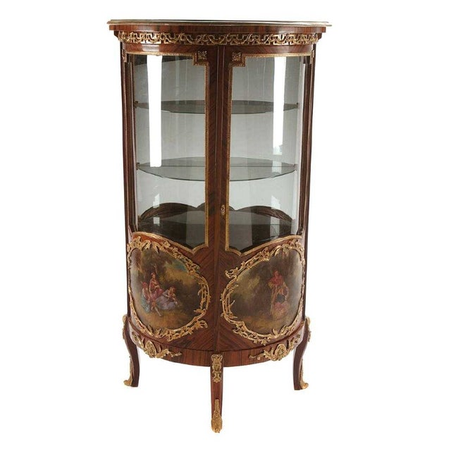 Louis XV Style Vitrine Rosewood Double Door With Ormolou For Sale - Image 11 of 11