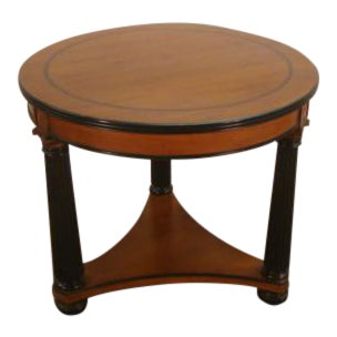 Empire Henkel Harris Solid Cherry Round Lamp Table For Sale
