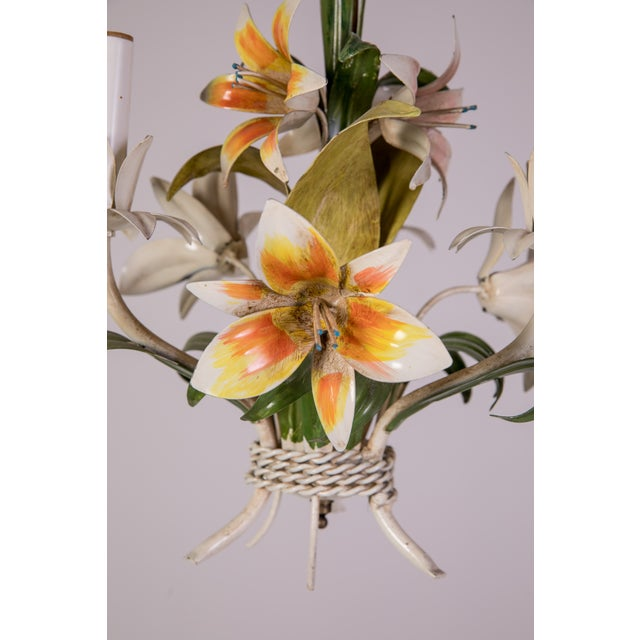 Green Madcap Cottage Tole Lily 3-Light Chandelier For Sale - Image 8 of 12