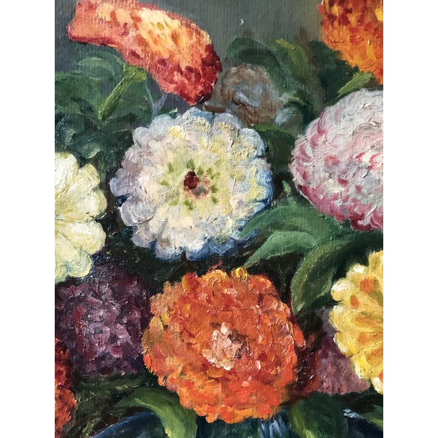 Wood Bright and Cheerful 1940s Floral Still Life For Sale - Image 7 of 13