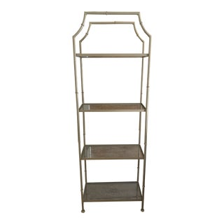 Vintage Pagoda Style Faux Bamboo Etagere For Sale