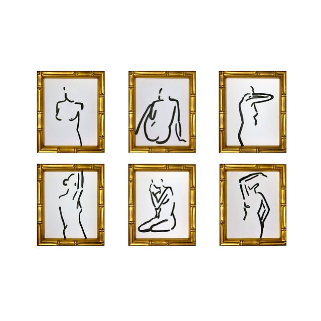 Female Figures Study, Turkish Umber Green Contemporary Paintings - Set of 6  by Lindsey Weicht