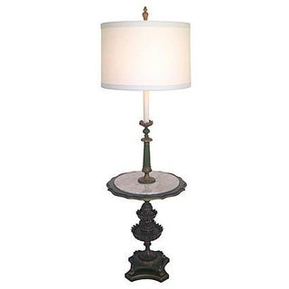 Italian Floor Lamp With Marble Top Table