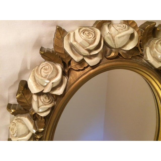 Vintgage Oval Homco Roses Ornate Mirror - Image 4 of 7