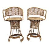 Image of Vintage Woven Rattan Bar Stools / Counter Stools - a Pair For Sale