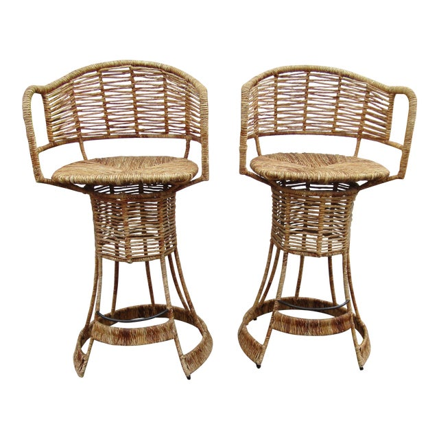 Vintage Woven Rattan Bar Stools / Counter Stools - a Pair For Sale