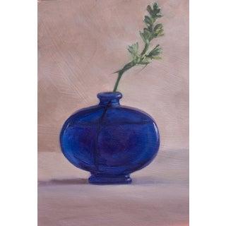 Original Round Blue Vase Painting For Sale