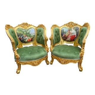 French Louis XVI Style Bergères - a Pair For Sale