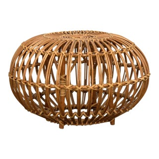 Petite Woven Rattan Ottoman by Franco Albini For Sale