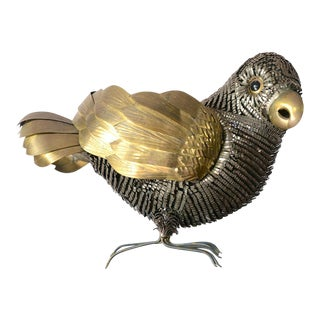 Mid-Century Sergio Bustamante Mixed Metal Bird Sculpture For Sale